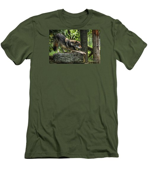 Downward Facing Wolf Men's T-Shirt (Slim Fit) by William Fields