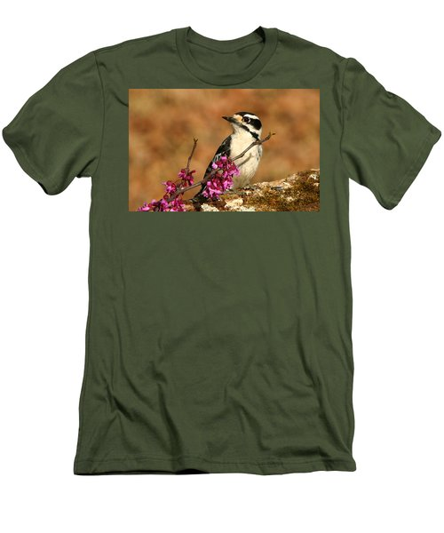 Downy Woodpecker In Spring Men's T-Shirt (Slim Fit) by Sheila Brown
