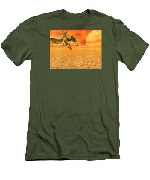 Dragon Against The Orange Sky Men's T-Shirt (Slim Fit) by Michele Wilson