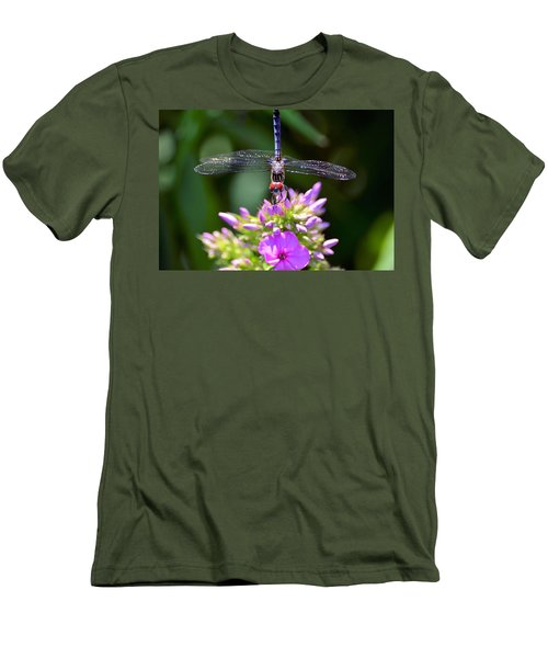 Dragonfly And Phlox Men's T-Shirt (Slim Fit) by Kathy Eickenberg