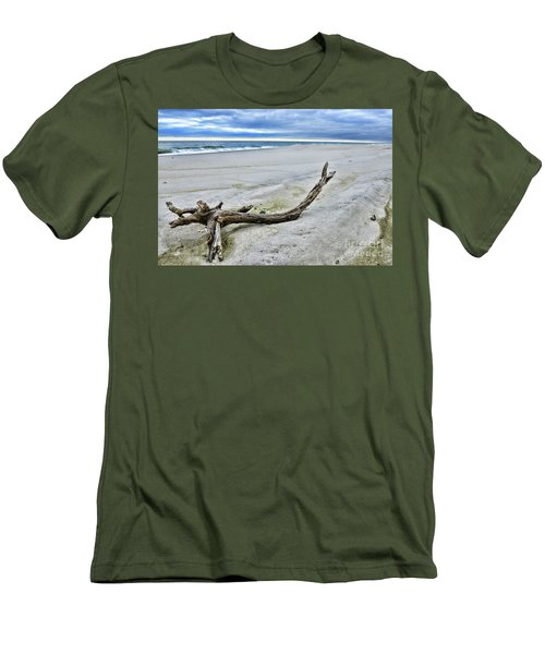 Driftwood On The Beach Men's T-Shirt (Slim Fit) by Paul Ward