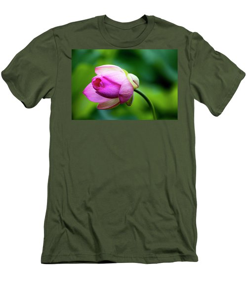 Men's T-Shirt (Slim Fit) featuring the photograph Droplets On Lotus by Edward Kreis