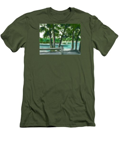 Men's T-Shirt (Slim Fit) featuring the painting Dubois Park Lagoon by Jean Pacheco Ravinski