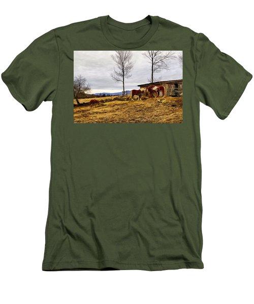Dusk Feeding On The Farm Men's T-Shirt (Slim Fit) by Betty Pauwels