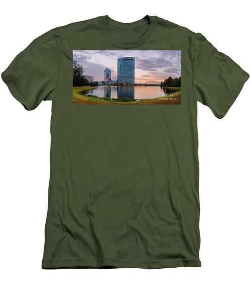 Dusk Panorama Of The Woodlands Waterway And Anadarko Petroleum Towers - The Woodlands Texas Men's T-Shirt (Athletic Fit)