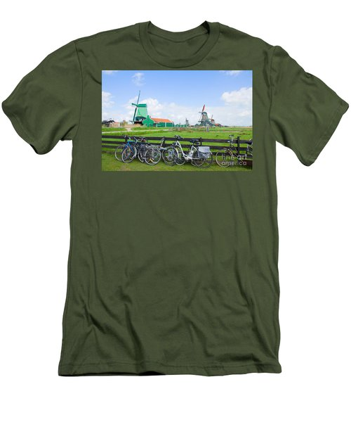 dutch windmills with bikes in Zaanse Schans Men's T-Shirt (Athletic Fit)