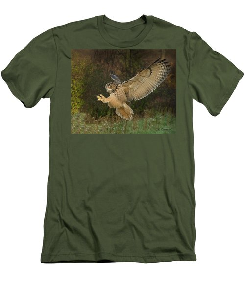 Eagle-owl Wings Back Men's T-Shirt (Slim Fit) by CR Courson