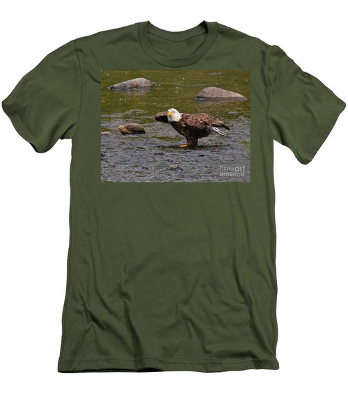 Men's T-Shirt (Athletic Fit) featuring the photograph Eagle Prepares For Take-off by Debbie Stahre