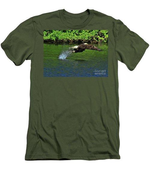 Men's T-Shirt (Slim Fit) featuring the photograph Eagle Series Fish Catch by Deborah Benoit