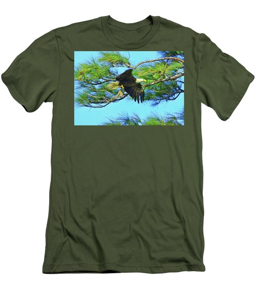 Men's T-Shirt (Slim Fit) featuring the painting Eagle Series Food by Deborah Benoit