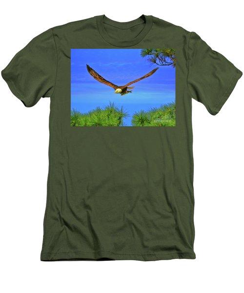 Men's T-Shirt (Slim Fit) featuring the photograph Eagle Series Through The Trees by Deborah Benoit