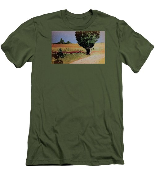 Men's T-Shirt (Slim Fit) featuring the painting Early Sunday Morning by Bill OConnor