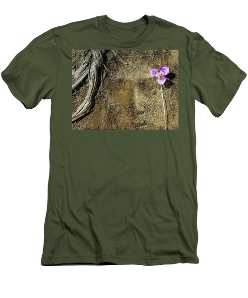 Men's T-Shirt (Slim Fit) featuring the photograph Earth Memories-desert Flower # 1 by Ed Hall