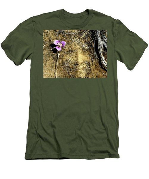 Men's T-Shirt (Slim Fit) featuring the photograph Earth Memories - Desert Flower # 2 by Ed Hall