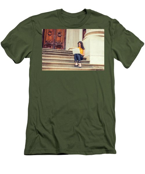 East Indian American College Student Studying In New York Men's T-Shirt (Athletic Fit)