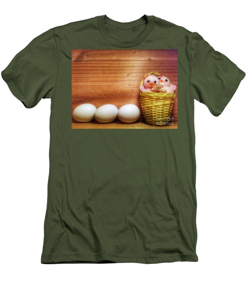 Easter Basket Of Pink Chicks With Eggs Men's T-Shirt (Athletic Fit)