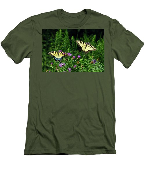 Men's T-Shirt (Athletic Fit) featuring the photograph Eastern Tiger Swallowtail Butterfly - Female And Male  by Kerri Farley