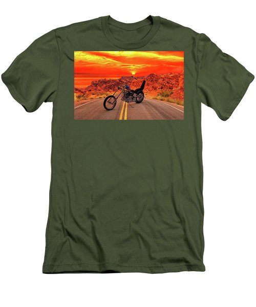 Men's T-Shirt (Slim Fit) featuring the photograph Easy Rider Chopper by Louis Ferreira