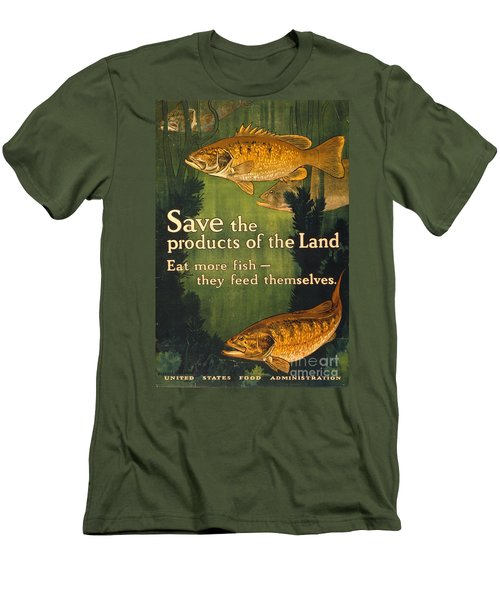 Men's T-Shirt (Slim Fit) featuring the photograph Eat More Fish Vintage World War I Poster by John Stephens