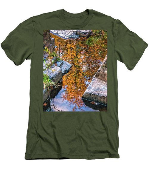 Men's T-Shirt (Slim Fit) featuring the photograph Eau Claire Dells Fall Reflection by Trey Foerster