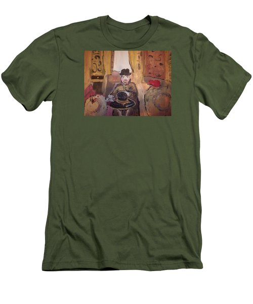 Men's T-Shirt (Slim Fit) featuring the painting Edwardian Hats by Judith Desrosiers