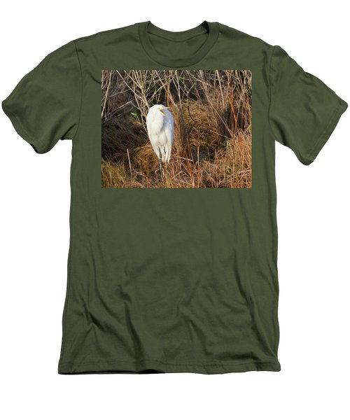 Egret With Something To Say Men's T-Shirt (Slim Fit) by George Randy Bass