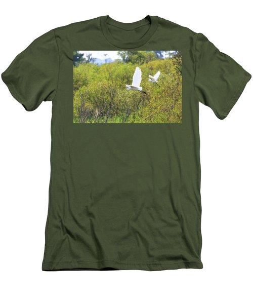 Egrets In Flight Men's T-Shirt (Slim Fit) by Jennifer Casey