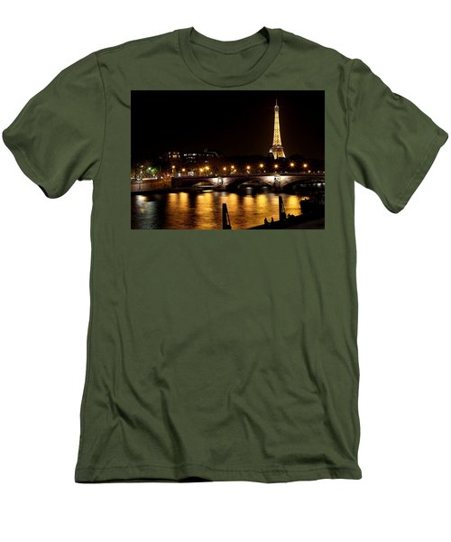 Men's T-Shirt (Slim Fit) featuring the photograph Eiffel Tower At Night 1 by Andrew Fare