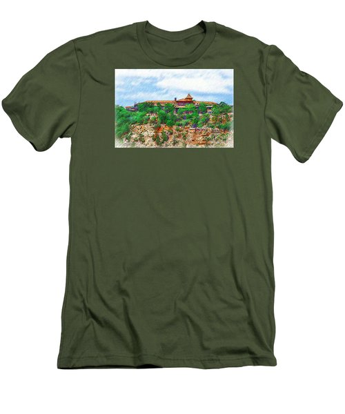 El Tovar At The Grand Canyon Men's T-Shirt (Slim Fit) by Kirt Tisdale