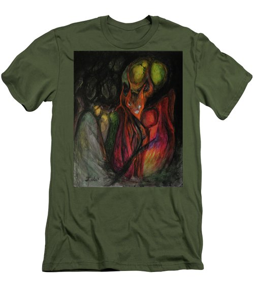 Men's T-Shirt (Slim Fit) featuring the painting Elder Keepers by Christophe Ennis