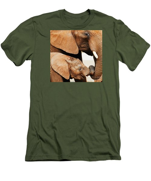 Elephant Calf And Mother Close Together Men's T-Shirt (Athletic Fit)