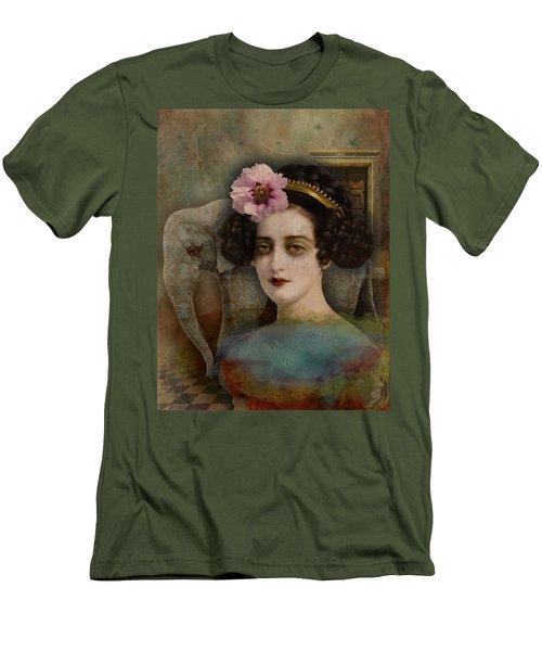 Men's T-Shirt (Slim Fit) featuring the digital art Elephant Dreamer by Lisa Noneman