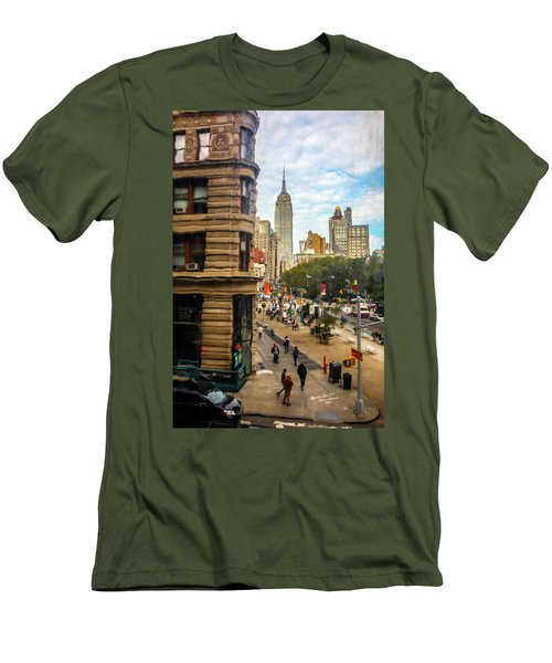 Men's T-Shirt (Slim Fit) featuring the photograph Empire State Building - Crackled View 3 by Madeline Ellis
