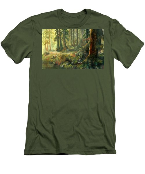 Enchanted Rain Forest Men's T-Shirt (Slim Fit) by Sherry Shipley