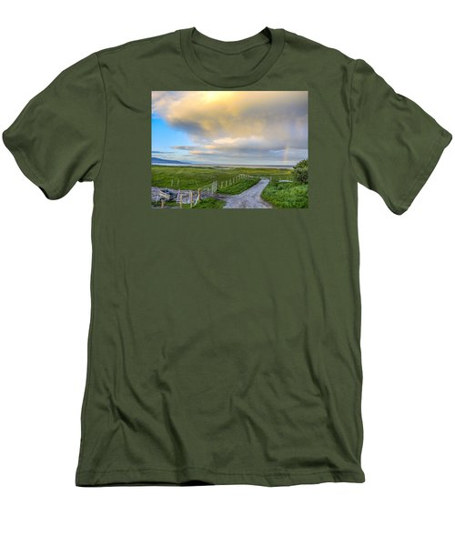 Men's T-Shirt (Slim Fit) featuring the photograph End Of The Road, Brora, Scotland by Sally Ross