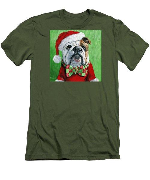 Holiday Cheer -english Bulldog Santa Dog Painting Men's T-Shirt (Athletic Fit)