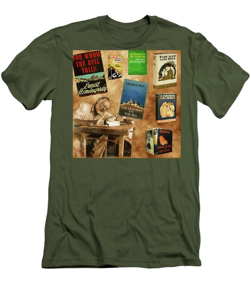 Ernest Hemingway Books 2 Men's T-Shirt (Slim Fit) by Andrew Fare