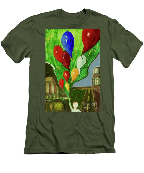 Men's T-Shirt (Slim Fit) featuring the painting Escape by Paul McKey