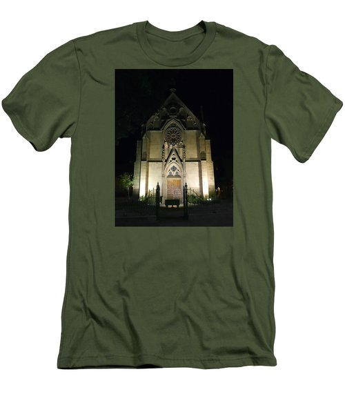 Men's T-Shirt (Slim Fit) featuring the photograph Evening At Loretto Chapel Santa Fe by Kurt Van Wagner