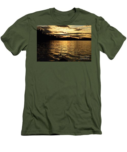 Men's T-Shirt (Slim Fit) featuring the photograph Evening Paddle On Amoeber Lake by Larry Ricker