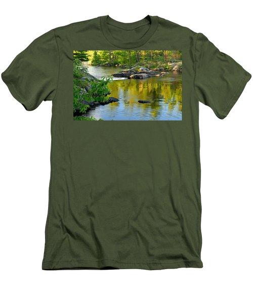 Evening Reflections At Lower Basswood Falls Men's T-Shirt (Slim Fit) by Larry Ricker