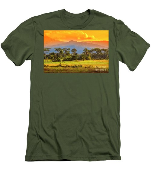 Men's T-Shirt (Slim Fit) featuring the photograph Evening Scene by Charuhas Images