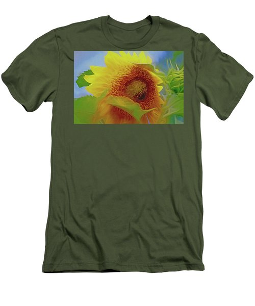 Men's T-Shirt (Athletic Fit) featuring the mixed media Eye Of The Sunflower by Lynda Lehmann