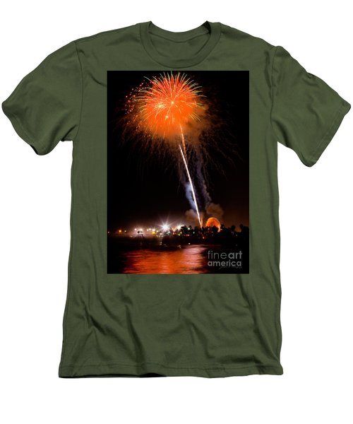 Fireworks As Seen From The Ventura California Pier Men's T-Shirt (Athletic Fit)