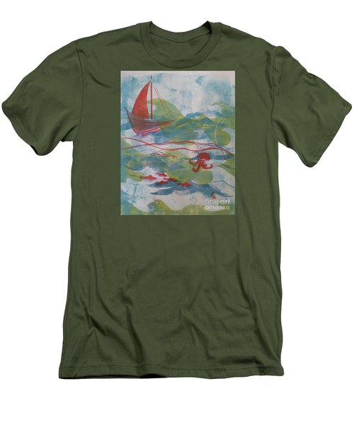 Men's T-Shirt (Slim Fit) featuring the painting Fair Winds Calm Seas by Cynthia Lagoudakis