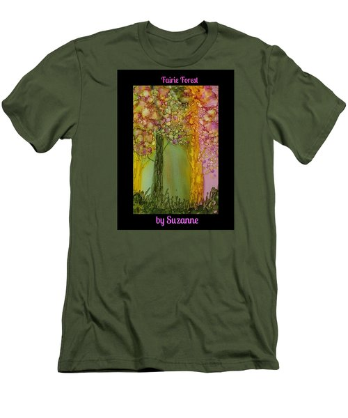 Men's T-Shirt (Slim Fit) featuring the painting Fairie Forest by Suzanne Canner