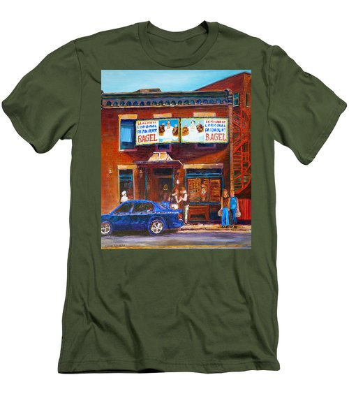 Men's T-Shirt (Slim Fit) featuring the painting Fairmount Bagel With Blue Car  by Carole Spandau