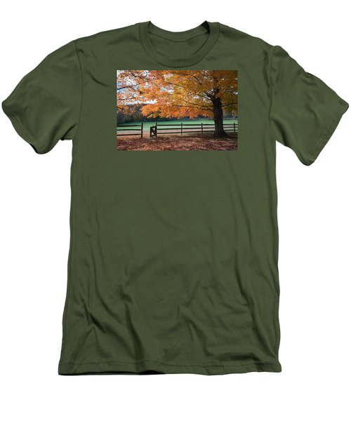 Fal Foliage And Fence Men's T-Shirt (Athletic Fit)