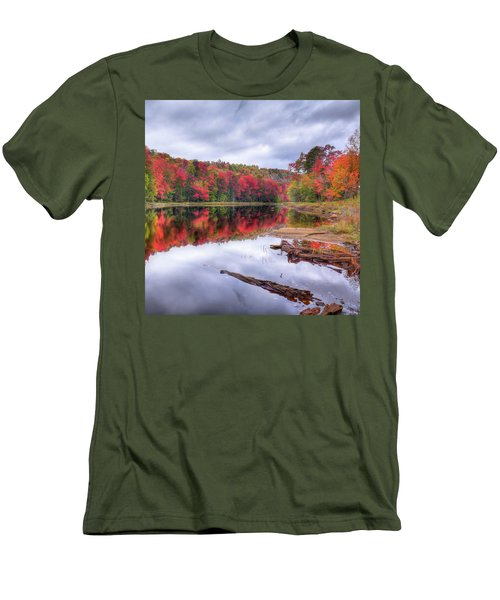 Men's T-Shirt (Slim Fit) featuring the photograph Fall Color At The Pond by David Patterson