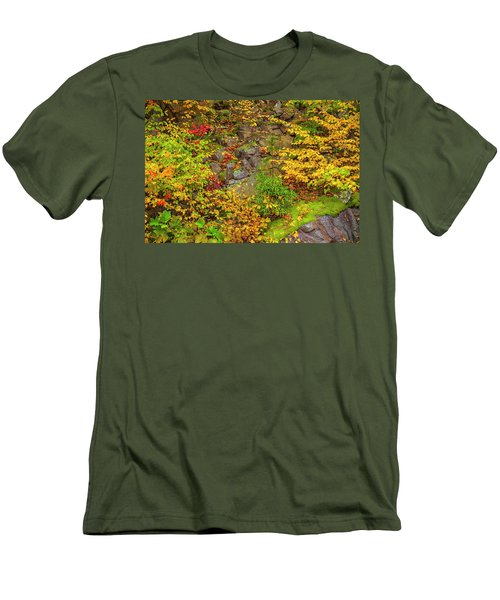 Fall Color Patchwork Men's T-Shirt (Slim Fit) by David Cote